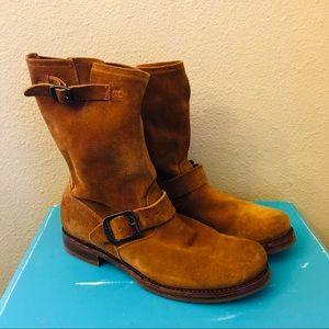 Frye | Natalie Mid Engineer Suede Boot Camel 8